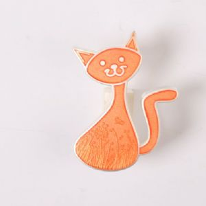 CacheCat (Cat) Geocoin - Orange / Polished Nickel